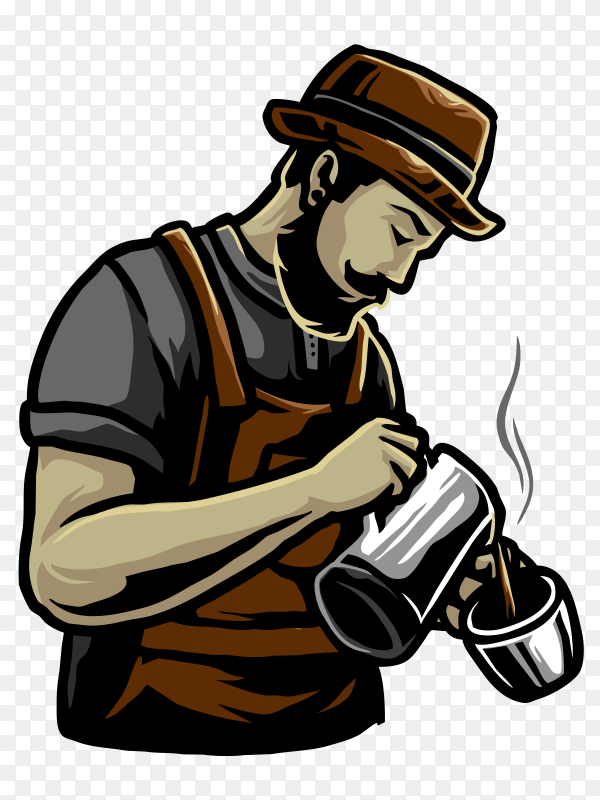 Coffee shop logo on transparent background PNG