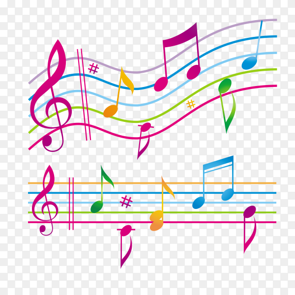 Colorful musical notes on transparent background PNG