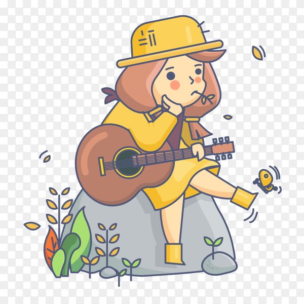 Country girl character holding guitar Premium vector PNG