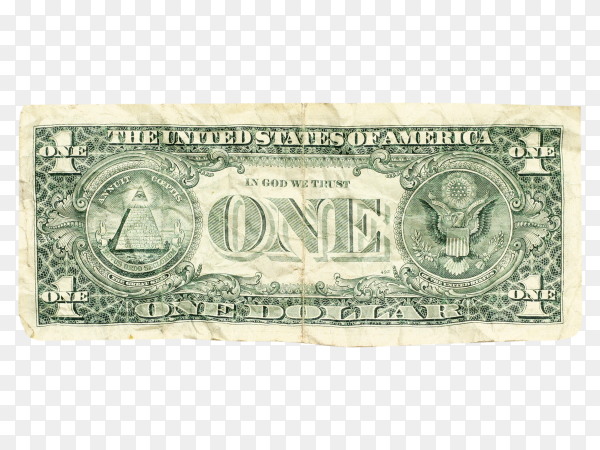 Crumpled dollar isolated on transparent background PNG