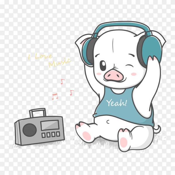 Cute baby pig listen music Premium vector PNG