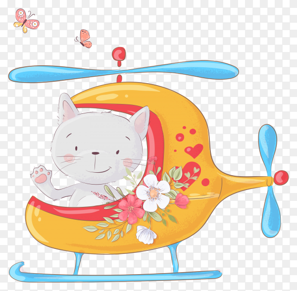 Cute cartoon cat helicopter on transparent background PNG