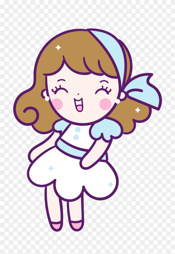 Cute cartoon girl on transparent PNG