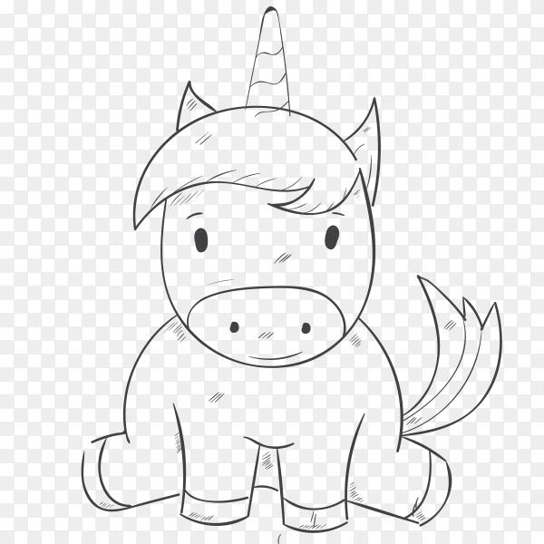 Cute cartoon unicorn on transparent background PNG