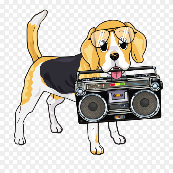 Cute dog biting Radio on transparent background PNG