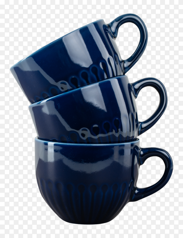 Dark blue ceramic coffee cup on table on transparent background PNG