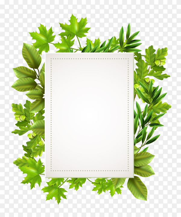 Decorative frame with leaves of spring Premium vector PNG