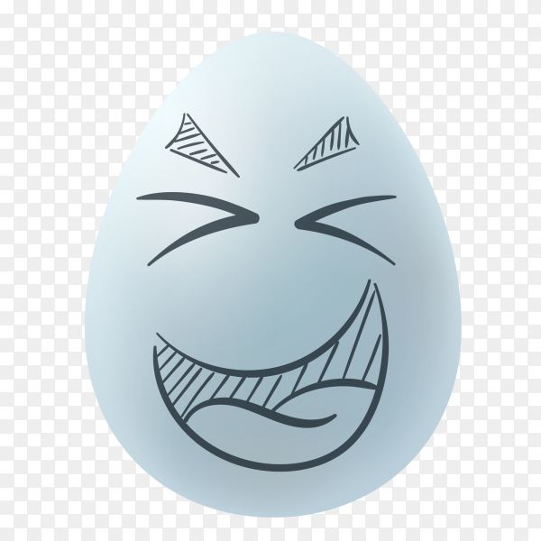 Easter egg with hand drawn happy face on transparent background PNG