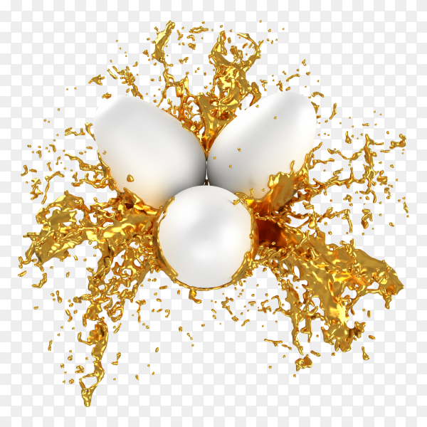 Easter eggs splashes gold paint on transparent background PNG