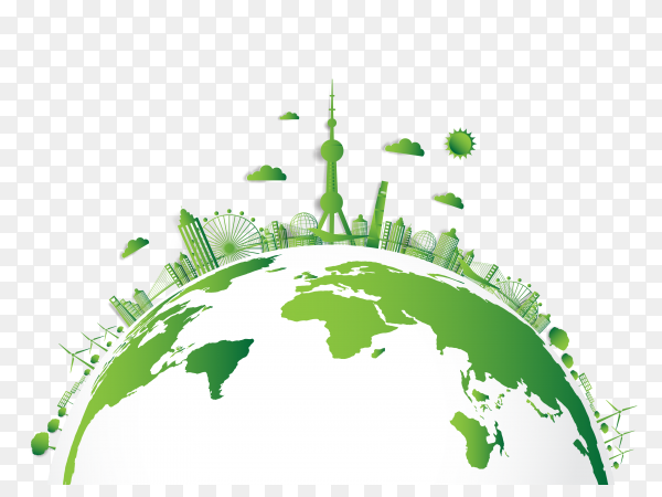 Eco friendly concept green city save world on transparent PNG