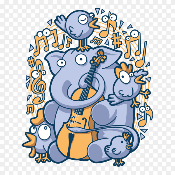 Elephants and chickens play music on transparent background PNG