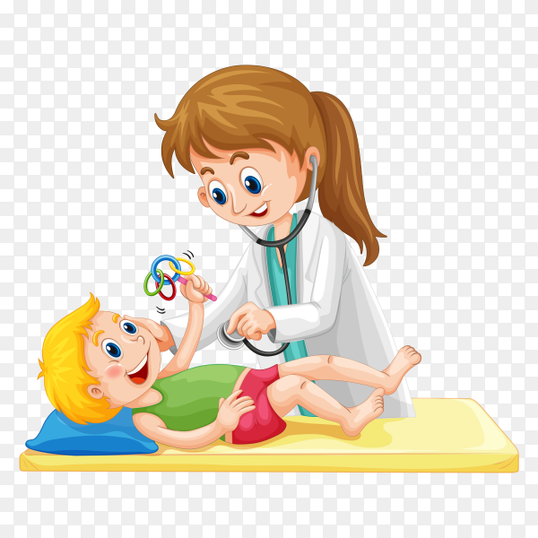 Female doctor give little boy treatment on transparent background PNG