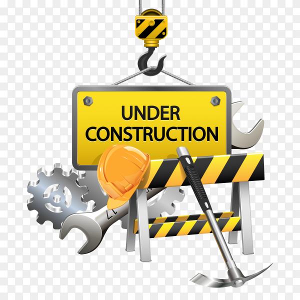 Flat under construction template Premium vector PNG