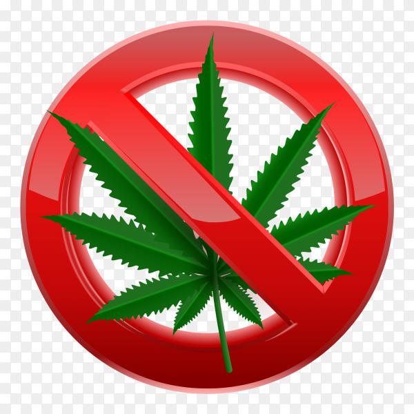Forbidden no marijuana red sign vector PNG