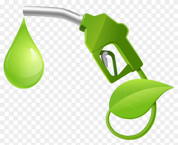 Fueling nozzle leaf and drop natural energy concept vector PNG
