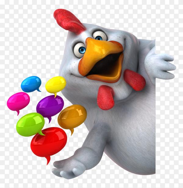 Fun chicken 3d illustration on transparemt background PNG