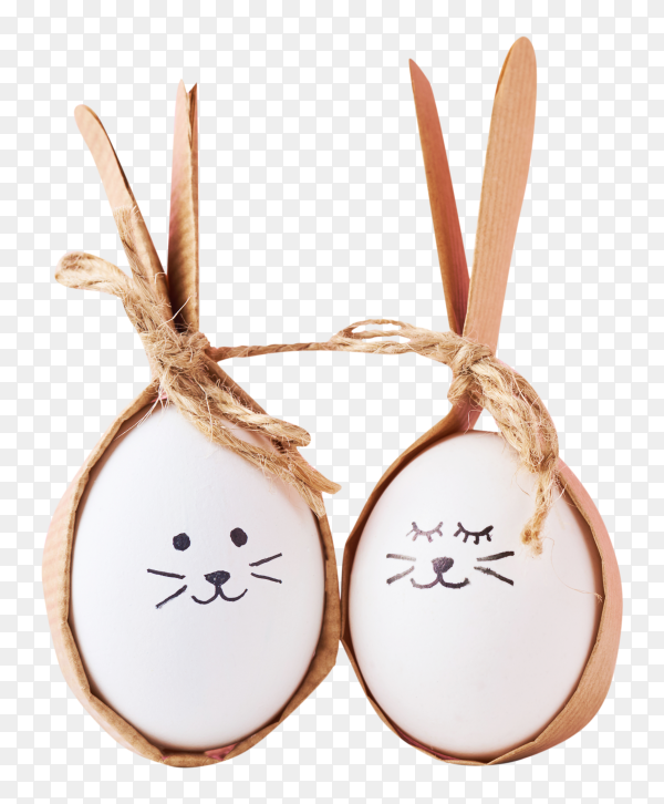 Funny homemade eggs with faces on transparent background PNG