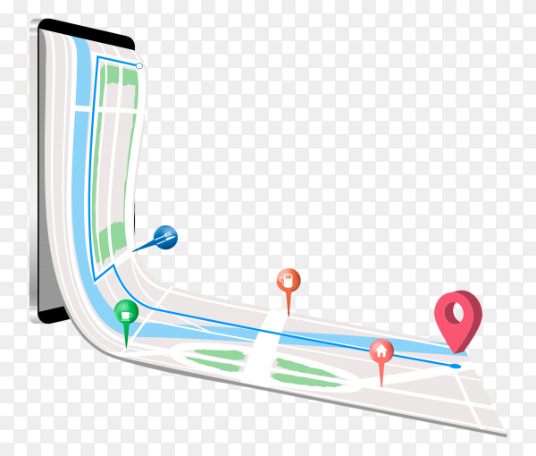 GPS on smartphone on transparent background PNG