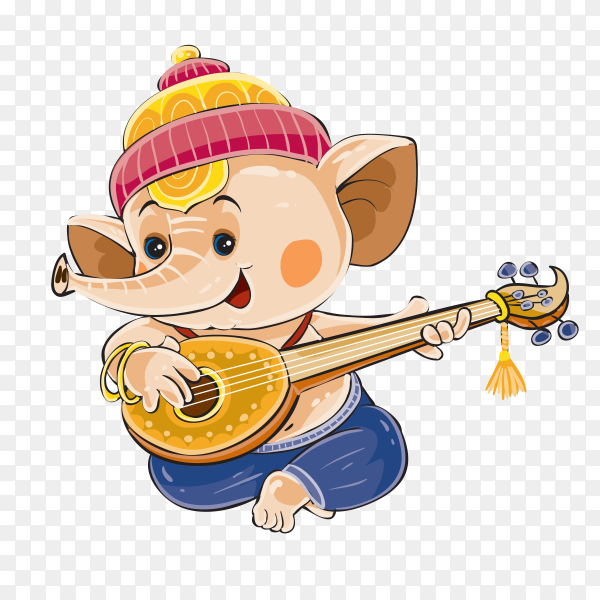 Ganesha elephant cartoon Playing Guitar Premium vector PNG