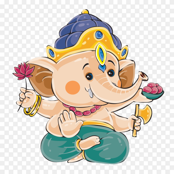 Ganesha elephant cartoon holding flower Clipart PNG