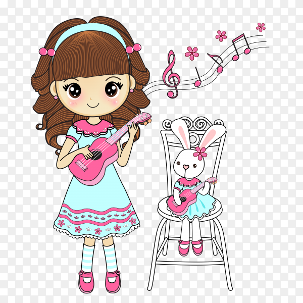 Girl with cute rabbit playing guitar on transparent background PNG