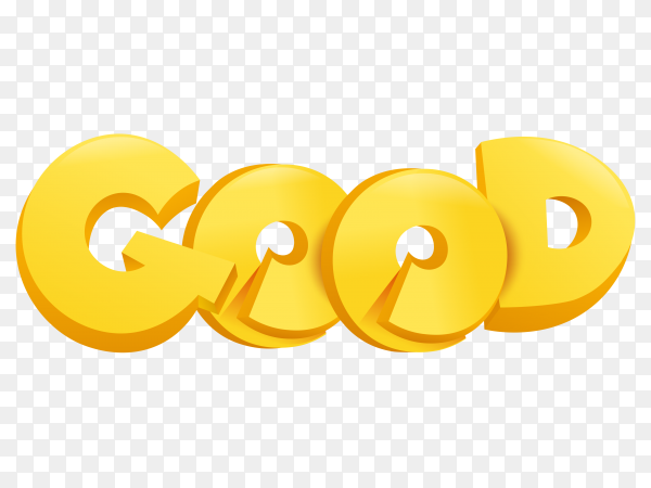 Good with golden letters on transparent PNG