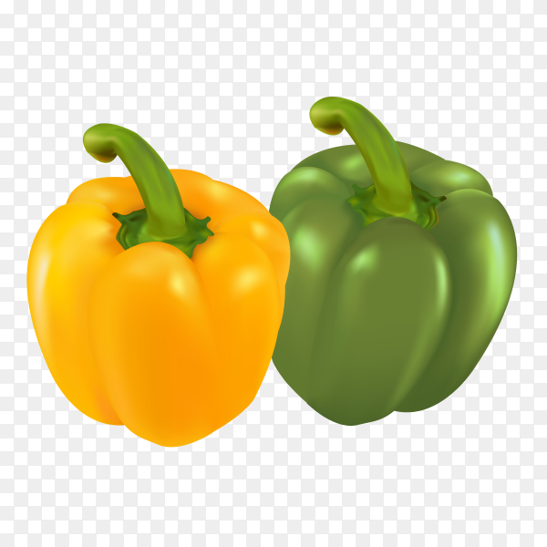 Green and yellow pepper Premium vector PNG