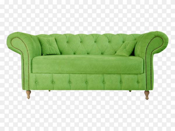 Green sofa with wooden legs isolated on transparent background PNG