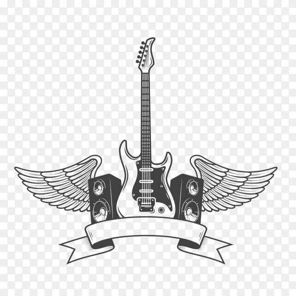 Guitar with wings on transparent background PNG