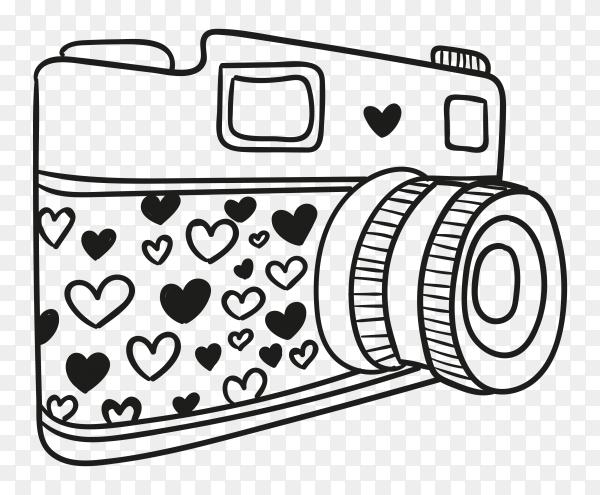 Hand drawn camera illustration Premium vector PNG
