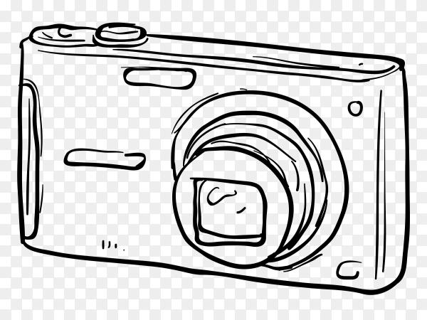 Hand drawn camera illustration on transparent background PNG