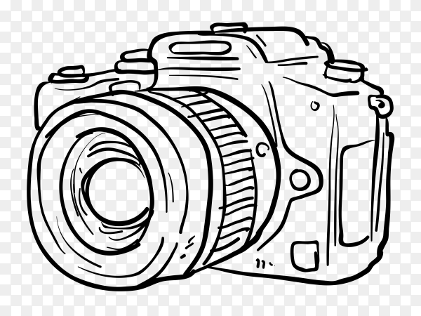 Hand drawn camera on transparent background PNG