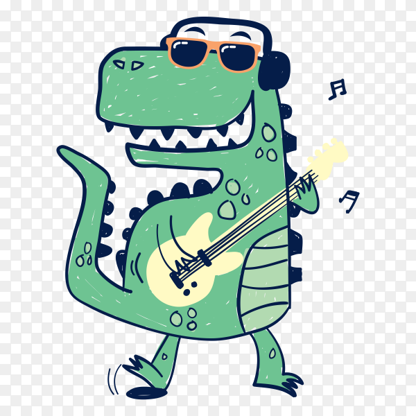 Hand drawn dinosaur playing guitar on transparent background PNG