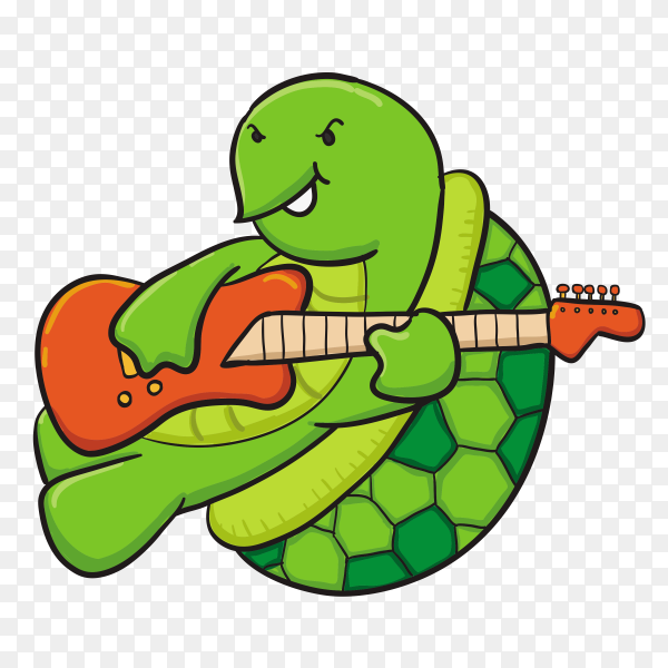 Hand drawn turtle Playing guiter on transparent background PNG