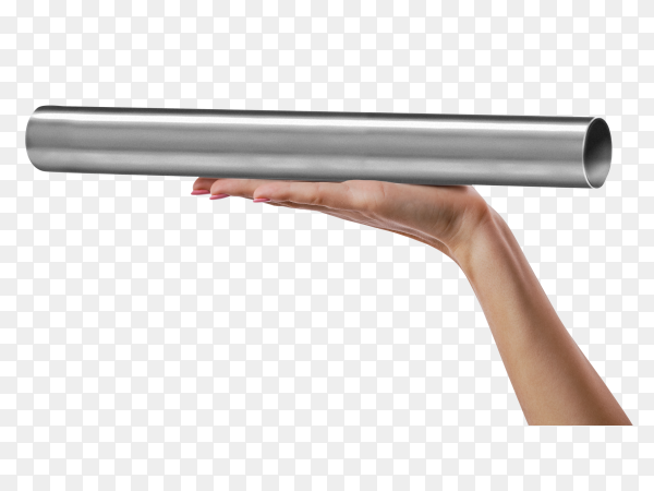Hand holding stainless steel pipe on transparent background PNG