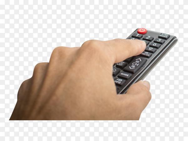 Hand pressing remote of smart tv on transparent background PNG