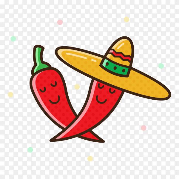Happy Chilis pepper Premium vector PNG
