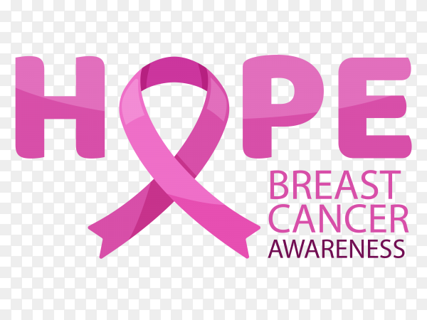 Hope ribbon breast cancer awareness month vector PNG