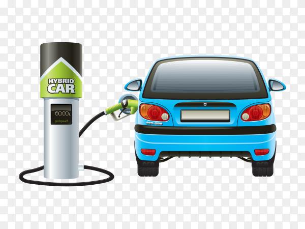 Hybrid car fuel Premium vector PNG