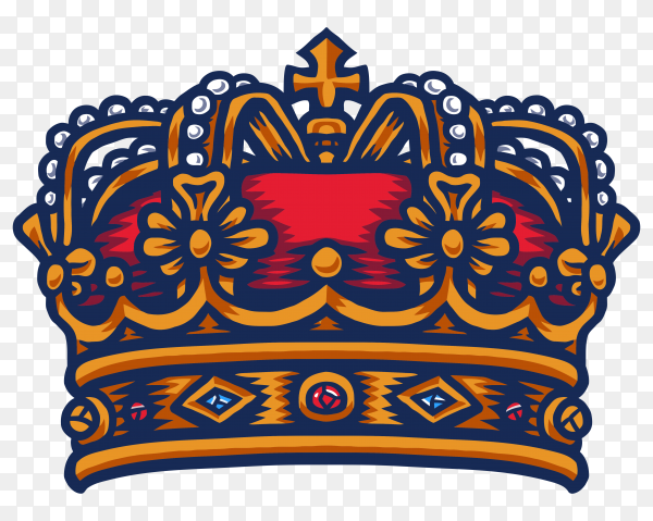 King crown hand drawn line with digital color on transparent PNG