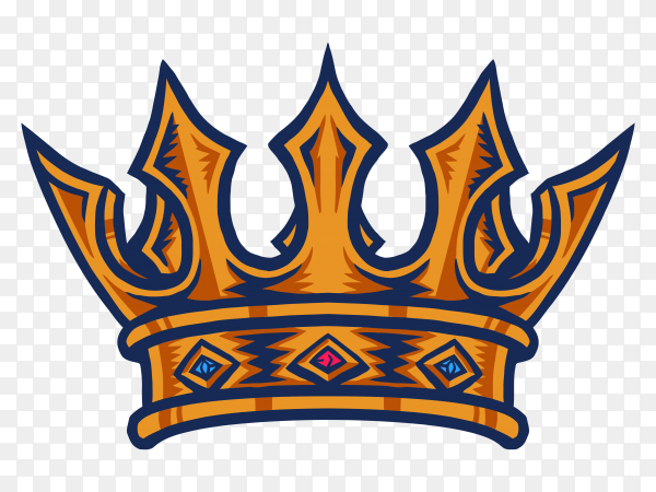 King crown hand drawn line with digital color on transparent background PNG