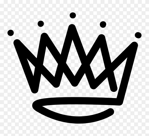 King crown logo icon on transparent background PNG