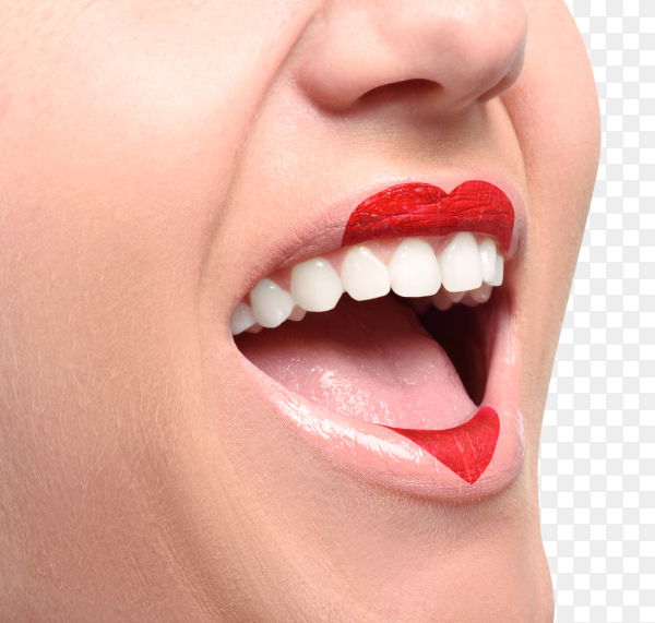 Lovely red lipstick heart shape on lips on transparent background PNG