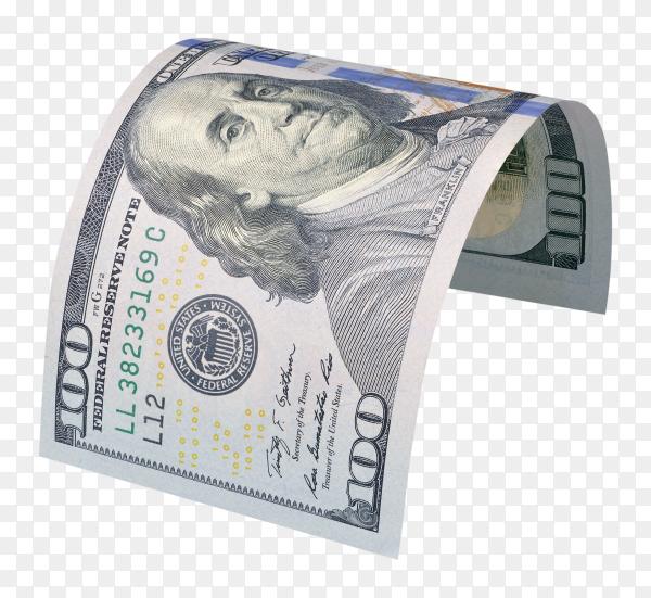 Macro shot of a 100 dollar on trnsparent background PNG