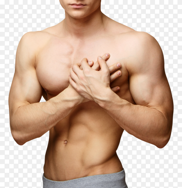Man with chest pain on transparent PNG