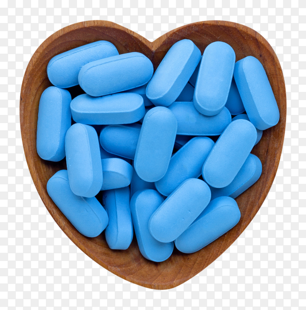 Medical blue pills with heart shaped wooden bowl on transparent background PNG