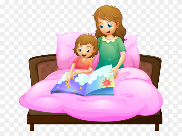 Mother telling bedtime story kid bed Clipart PNG