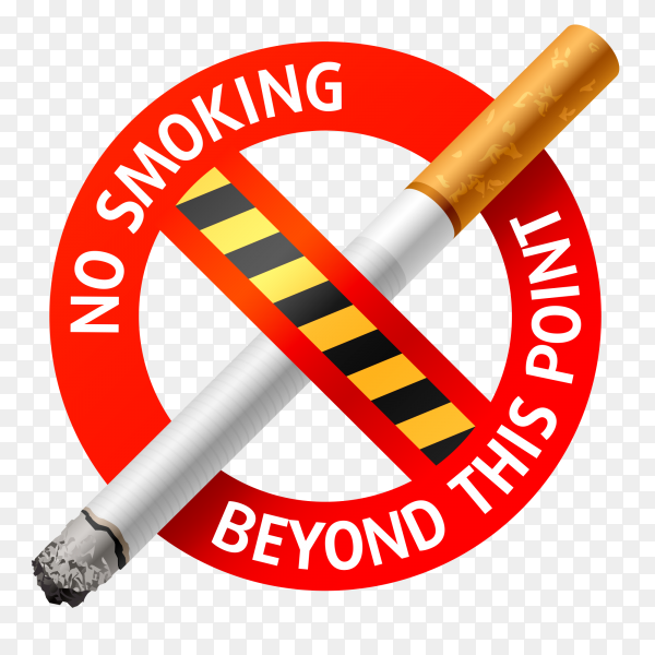 No smoking realistic cigarette sign Clipart PNG