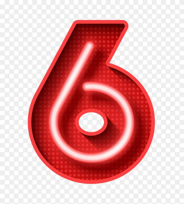 Number Six symbol neon light on transparent background PNG