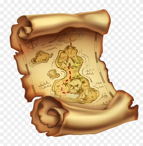 Old map treasure Premium vector PNG